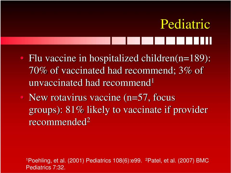 focus groups): 81% likely to vaccinate if provider recommended 2 1 Poehling,
