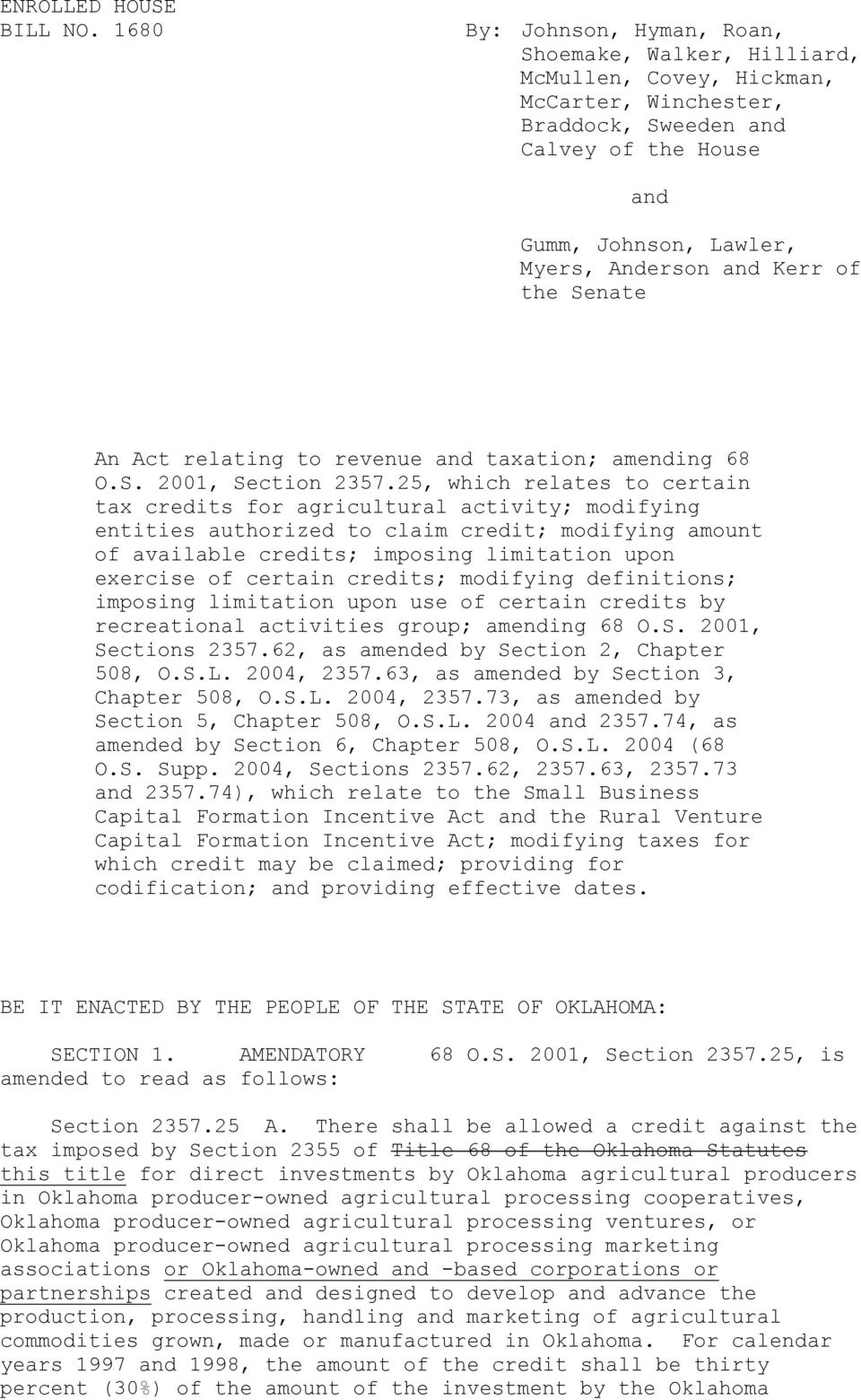 Kerr of the Senate An Act relating to revenue and taxation; amending 68 O.S. 2001, Section 2357.
