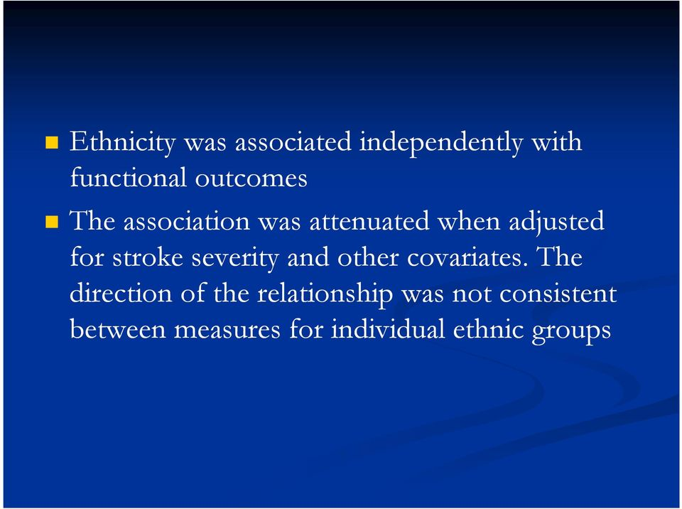 stroke severity and other covariates.