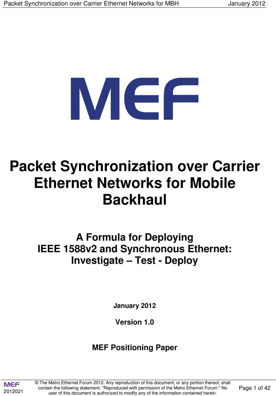 1588v2 and Synchronous Ethernet: Investigate Test -