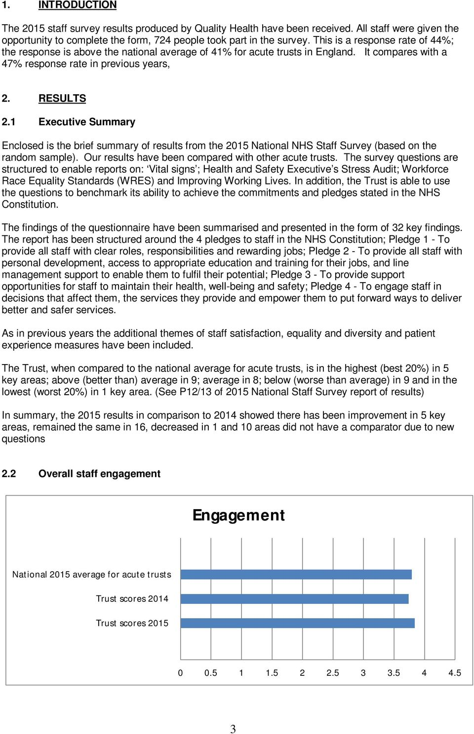 1 Executive Summary Enclosed is the brief summary of results from the 2015 National NHS Staff Survey (based on the random sample). Our results have been compared with other acute trusts.