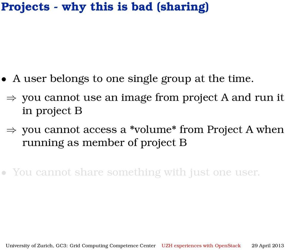 you cannot use an image from project A and run it in project B you