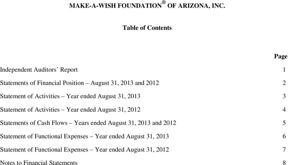 August 31, 2012 4 Statements of Cash Flows Years ended 5 Statement of Functional Expenses