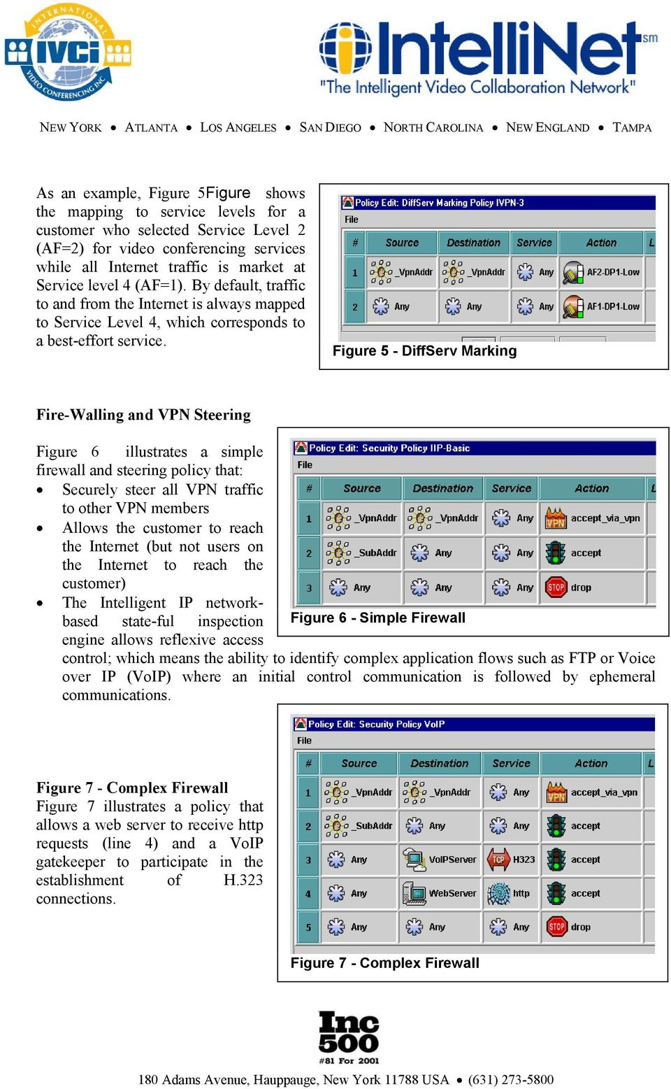 Figure 5 - DiffServ Marking Fire-Walling and VPN Steering Figure 6 illustrates a simple firewall and steering policy that: Securely steer all VPN traffic to other VPN members Allows the customer to