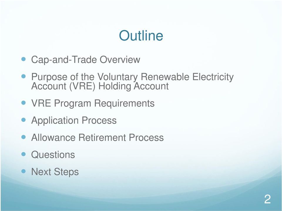 Holding Account VRE Program Requirements