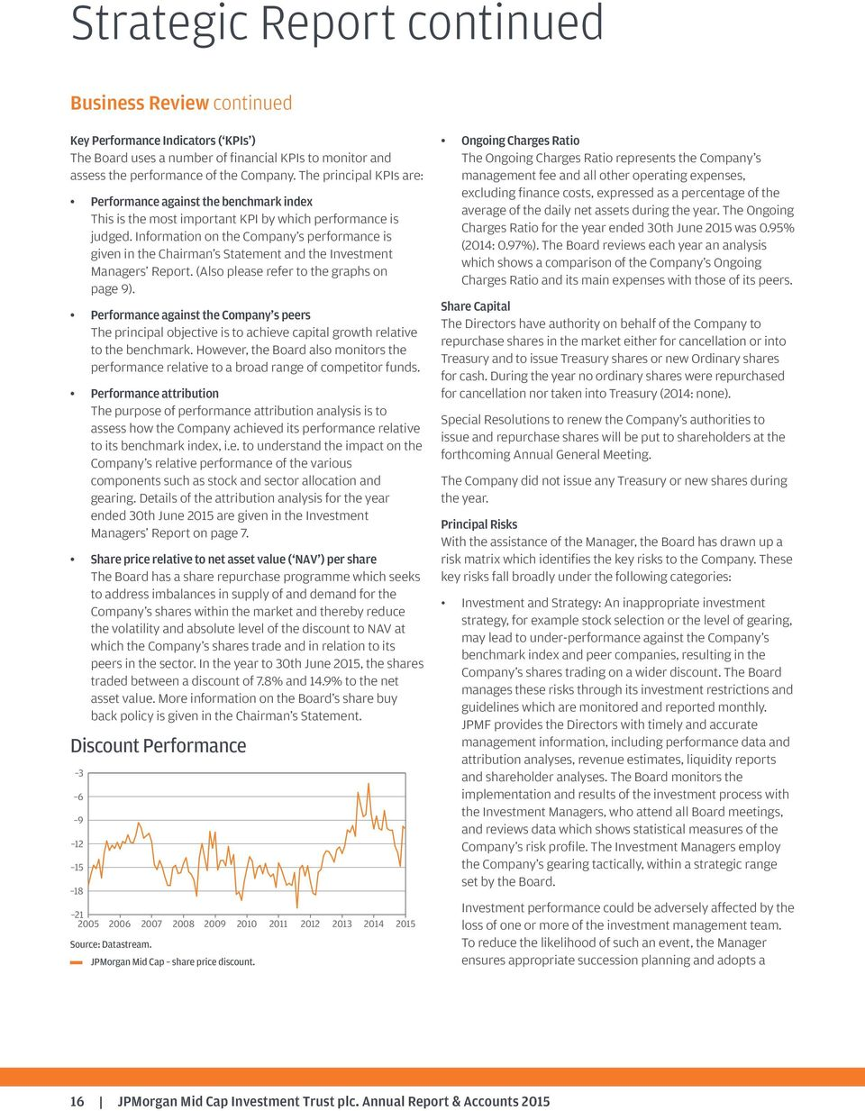 Information on the Company s performance is given in the Chairman s Statement and the Investment Managers Report. (Also please refer to the graphs on page9).