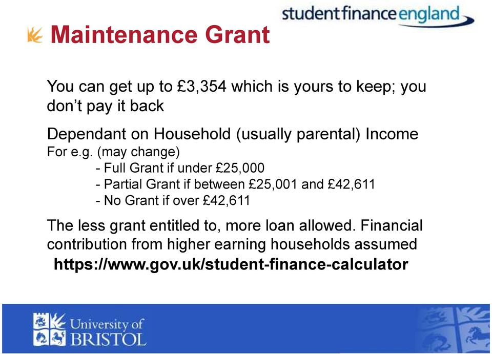 (may change) - Full Grant if under 25,000 - Partial Grant if between 25,001 and 42,611 - No Grant if