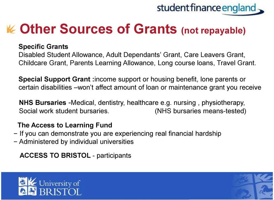 Special Support Grant :income support or housing benefit, lone parents or certain disabilities won t affect amount of loan or maintenance grant you receive NHS