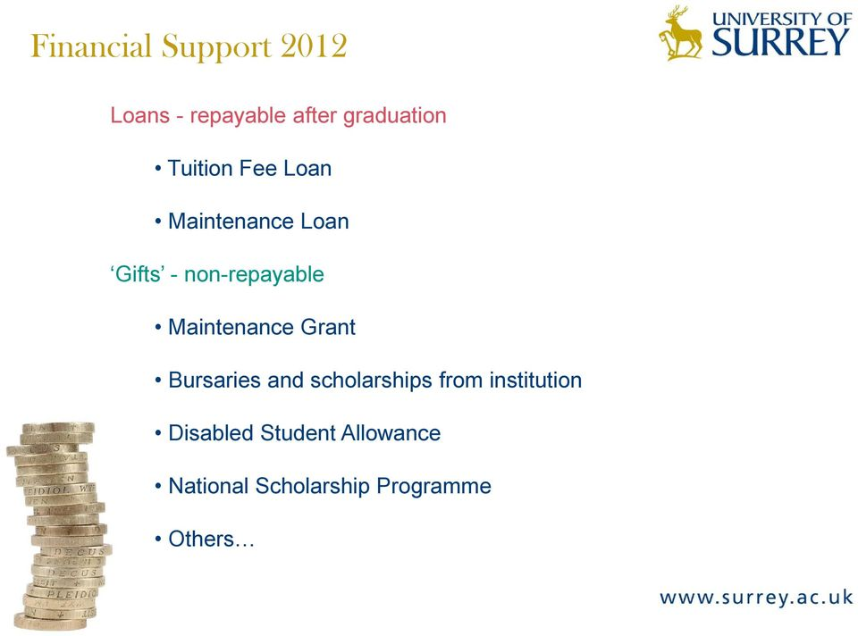 Maintenance Grant Bursaries and scholarships from