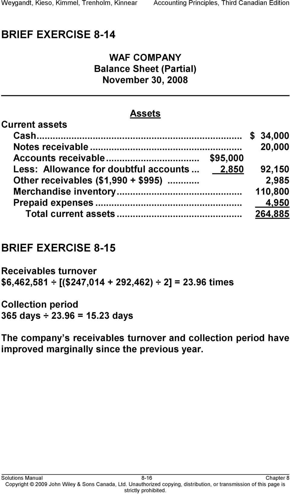 .. 4,950 4 Total current assets... 264,885 BRIEF EXERCISE 8-15 Receivables turnover $6,462,581 [($247,014 + 292,462) 2] = 23.