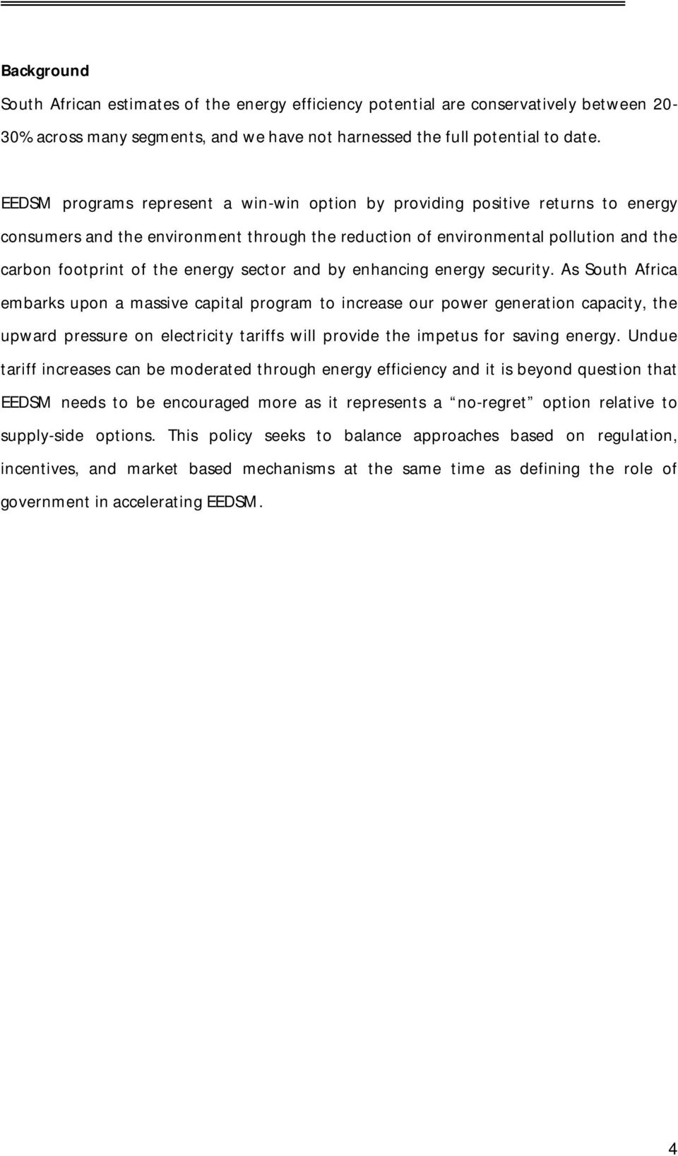 sector and by enhancing energy security.