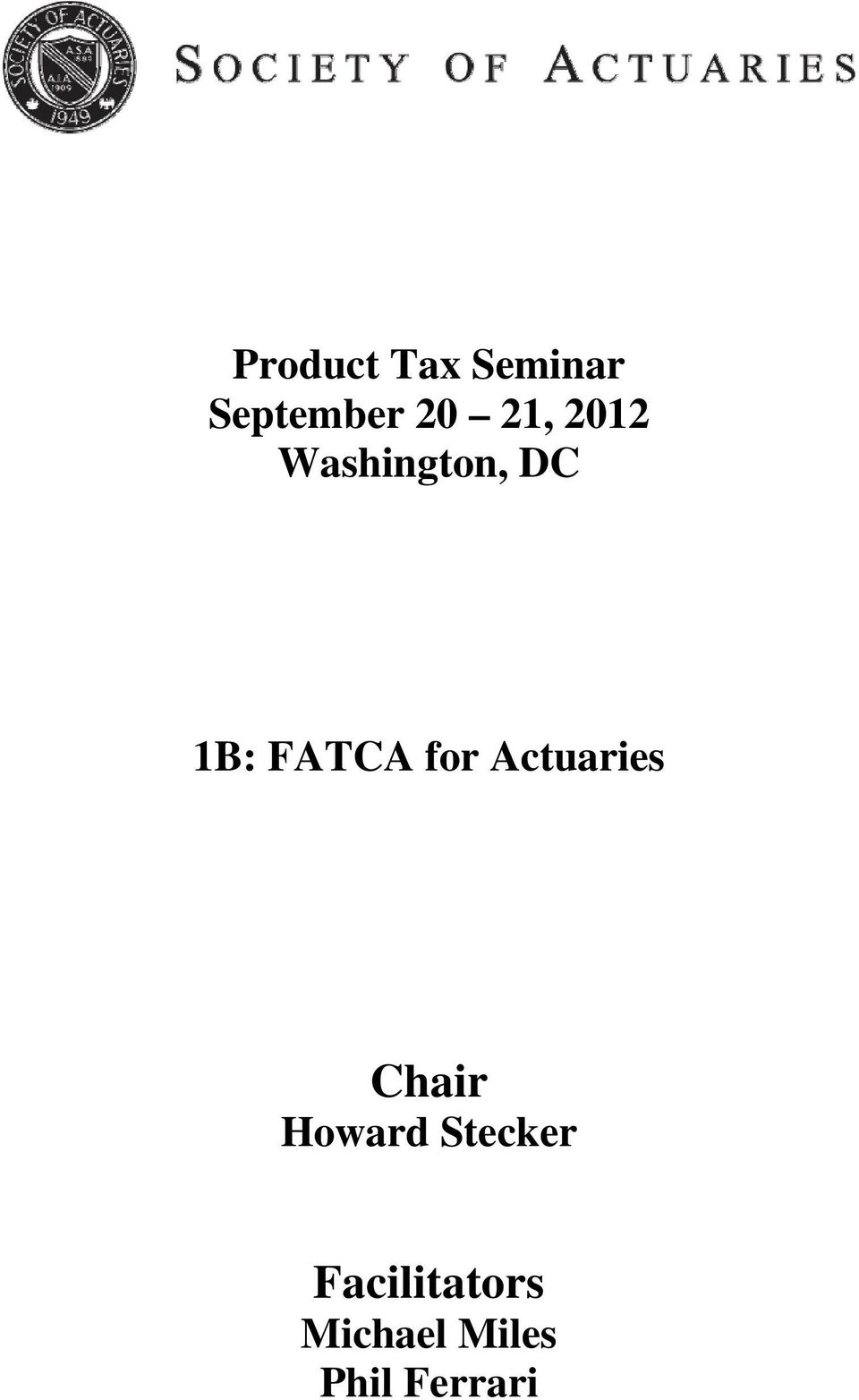 for Actuaries Chair Howard Stecker