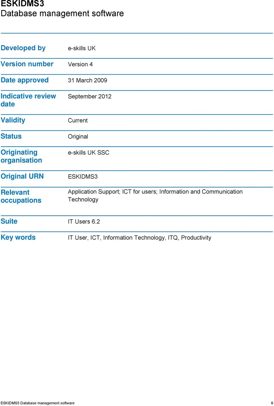 Original e-skills UK SSC ESKIDMS3 Application Support; ICT for users; Information and Communication