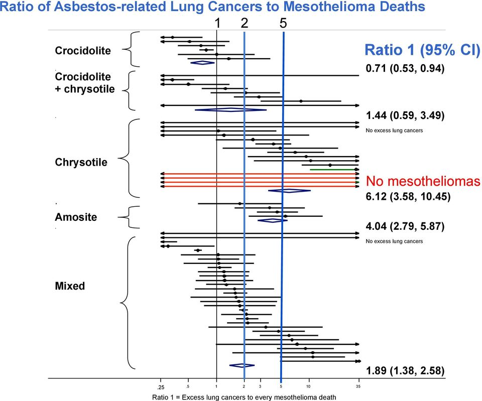49) No excess lung cancers Chrysotile. Amosite. No mesotheliomas 6.12 (3.58, 10.45) 4.04 (2.