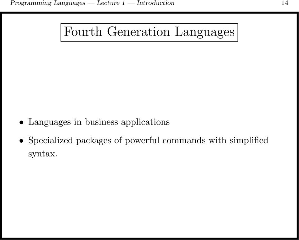 Languages in business applications