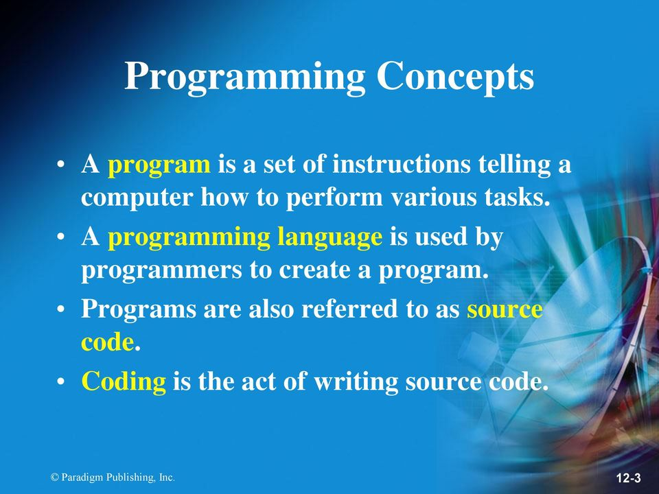 A programming language is used by programmers to create a program.