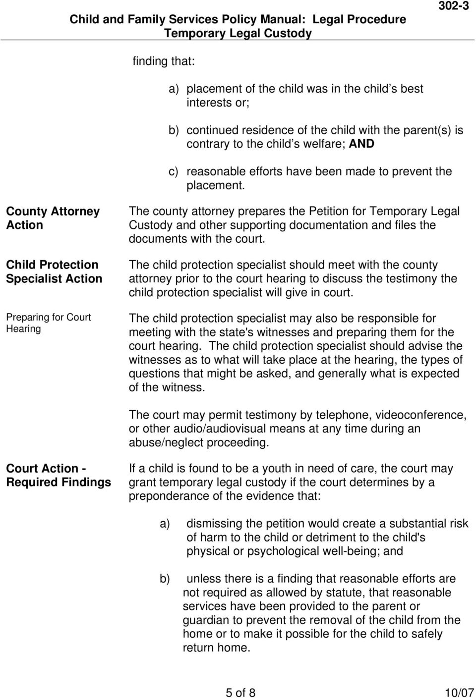 County Attorney Action Child Protection Specialist Action Preparing for Court Hearing The county attorney prepares the Petition for Temporary Legal Custody and other supporting documentation and