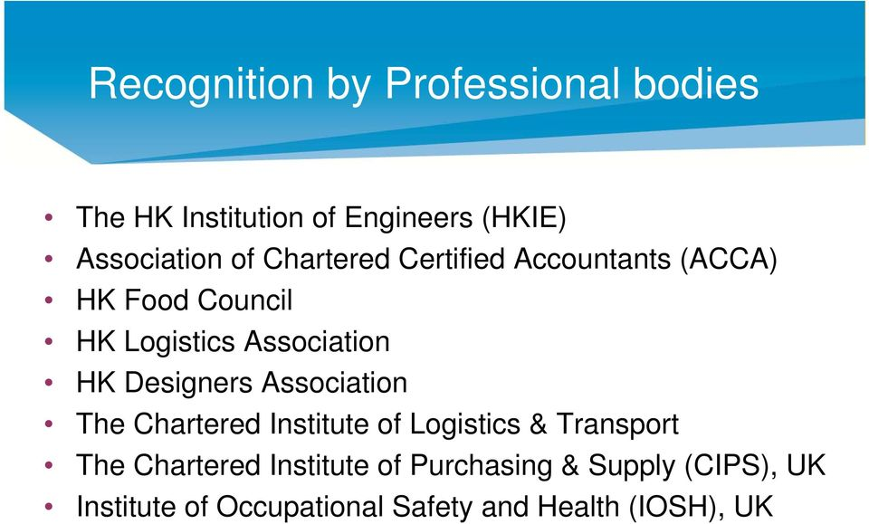 Designers Association The Chartered Institute of Logistics & Transport The Chartered