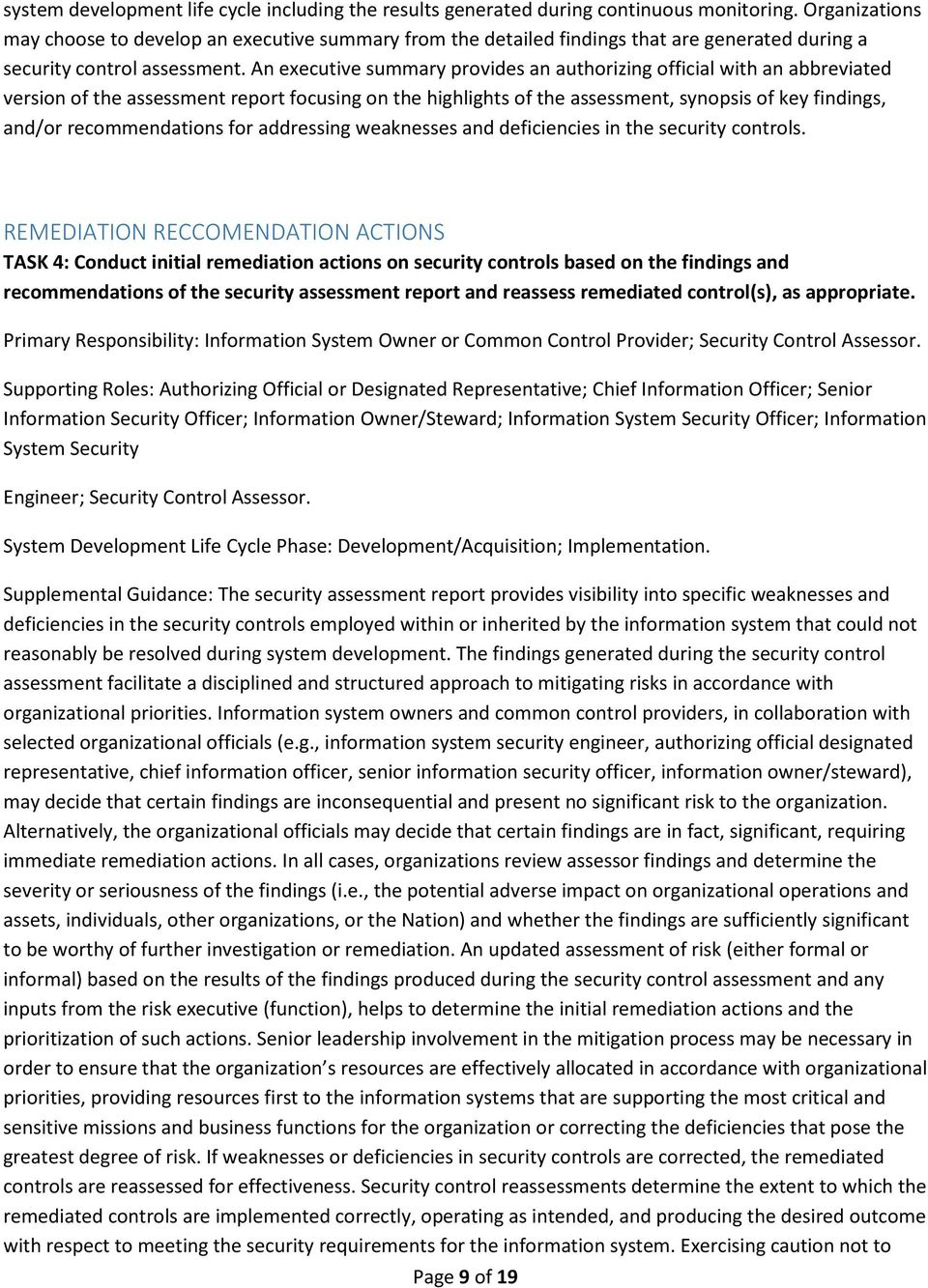 IE HHS BI Project System Security Control Assessment (SCA