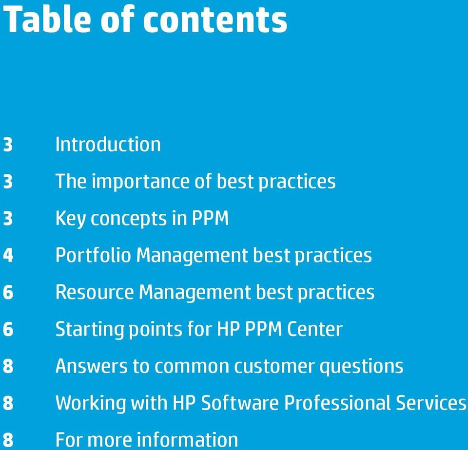 6 Starting points for HP PPM Center 8 Answers to common customer