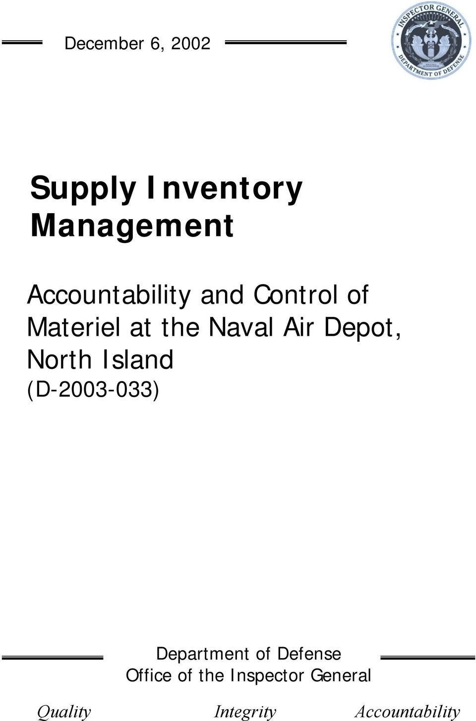 Air Depot, North Island (D-2003-033) Department of