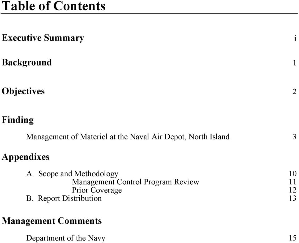Scope and Methodology 10 Management Control Program Review 11 Prior