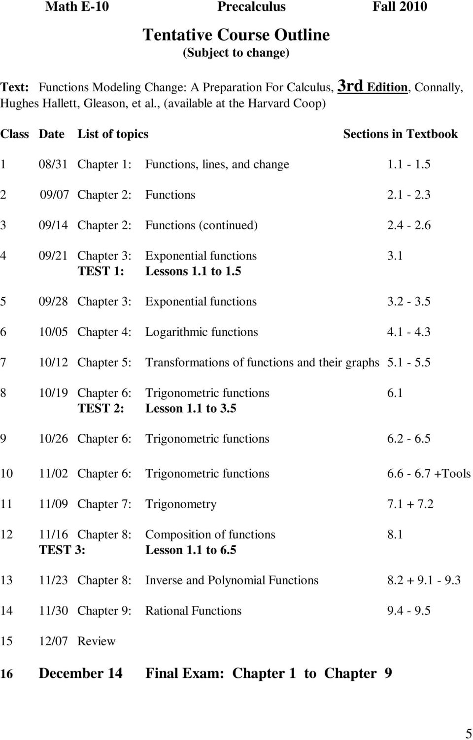 3 3 09/14 Chapter 2: Functions (continued) 2.4-2.6 4 09/21 Chapter 3: Exponential functions 3.1 TEST 1: Lessons 1.1 to 1.5 5 09/28 Chapter 3: Exponential functions 3.2-3.