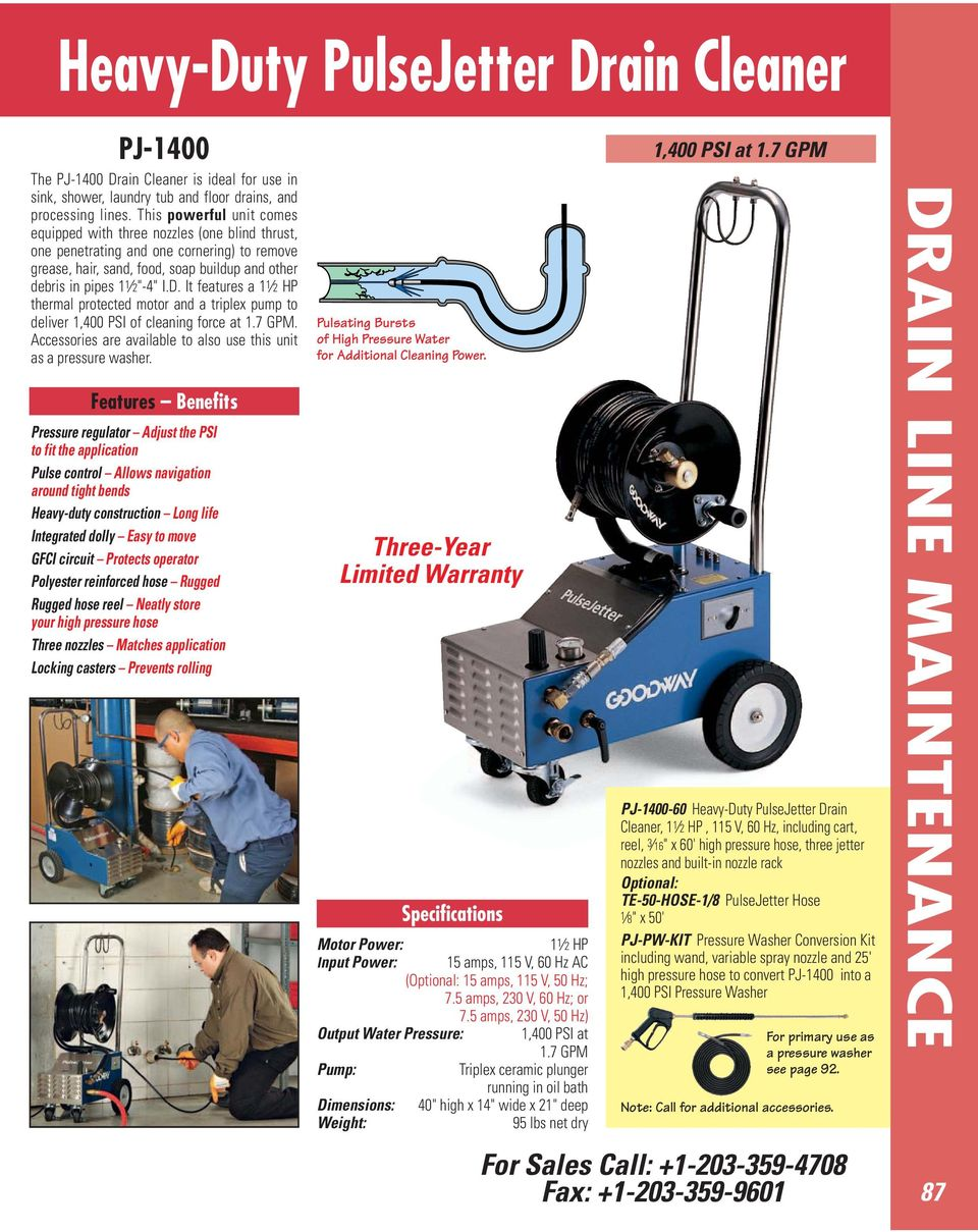 It features a 1 1 2 HP thermal protected motor and a triplex pump to deliver 1,400 PSI of cleaning force at 1.7 GPM. Accessories are available to also use this unit as a pressure washer.