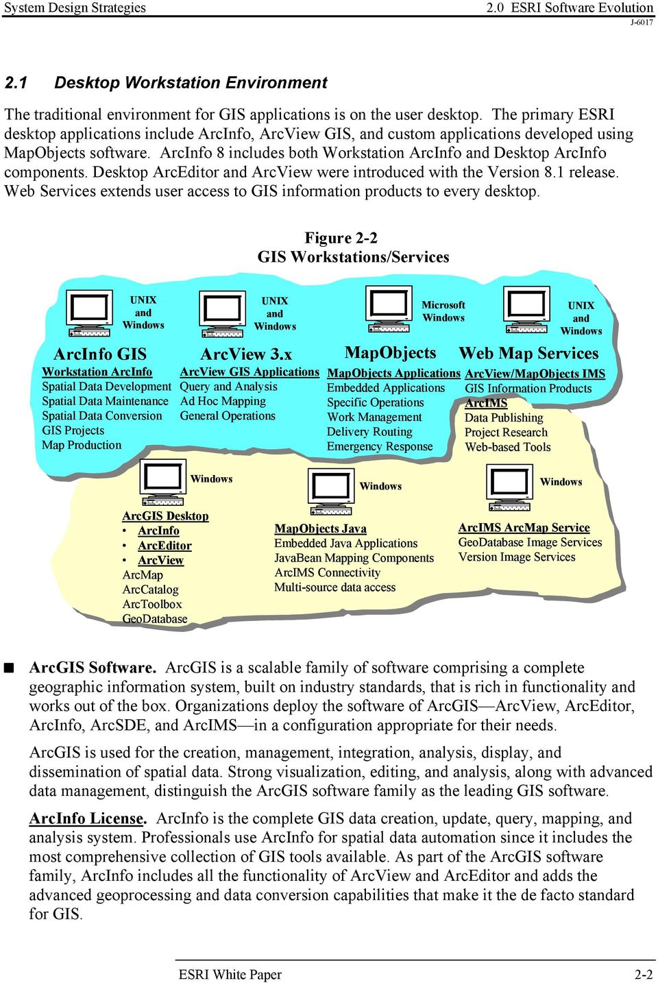 ArcInfo 8 includes both Workstation ArcInfo and Desktop ArcInfo components. Desktop ArcEditor and ArcView were introduced with the Version 8.1 release.