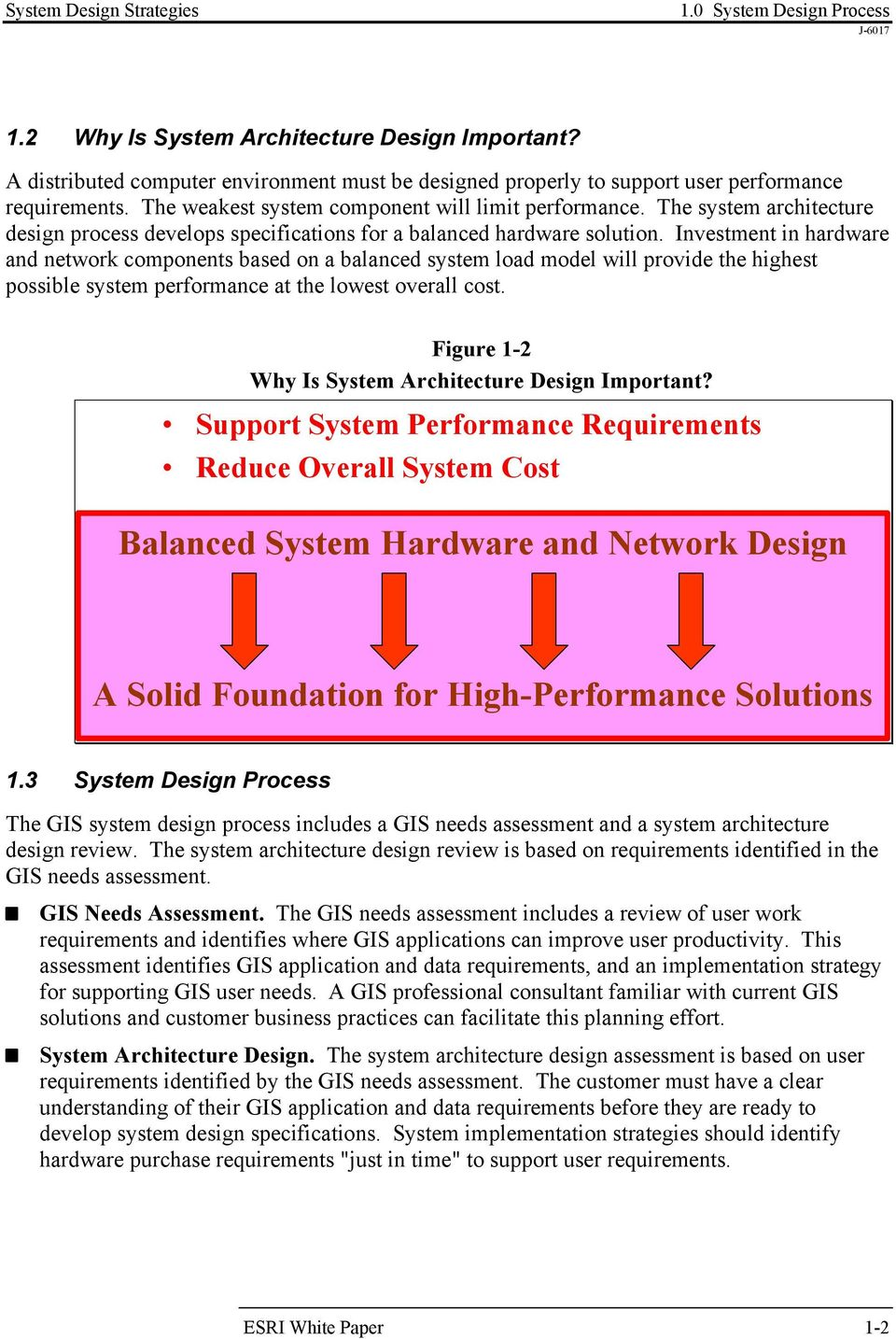 The system architecture design process develops specifications for a balanced hardware solution.