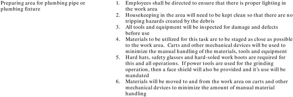 Hard hats, safety glasses and hard-soled work boots are required for 6.
