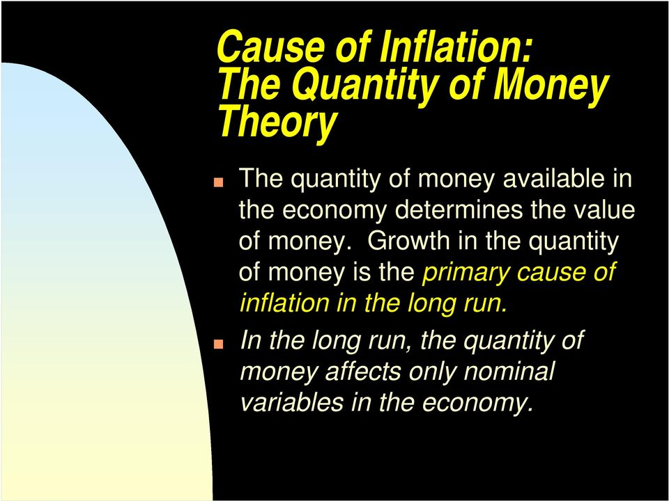 Growth in the quantity of money is the primary cause of inflation in the
