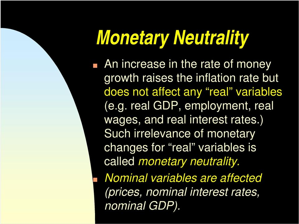 real GDP, employment, real wages, and real interest rates.