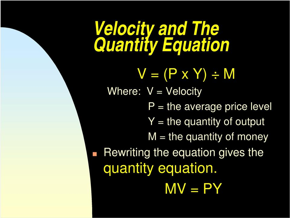 the quantity of output M = the quantity of money