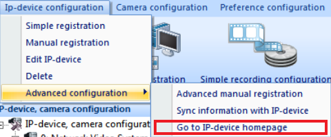 4) Or Select directly Sync information with IP-Device at the Advaced configuration from Ip-device configuration menu on on the left side bottom sub part.