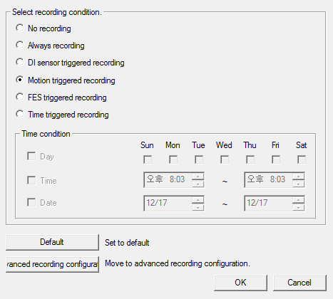 F) The initial setting is stored by the motion detection, it is set to be D Name Menu Description A No recoding Don t save recording B Always recording Always save recording if not any options.