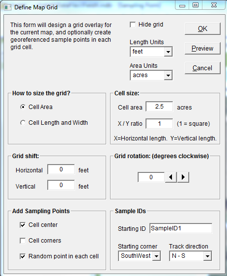 Set up Sampling Grid Soil Sampling with FieldRecon To open the window to define the map grid, click on Grid, which is found above the center of the map.