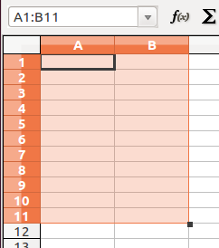 Spreadsheets 12 To select a cell range, left-click on the first cell and, without releasing the mouse button, drag the mouse pointer over the cells to be included, until the last cell of the desired