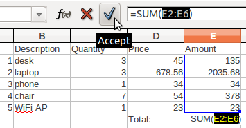19 Module 4 Sum is one of the most frequently used functions in spreadsheets, so its button is available in the toolbar. To use a toolbar button: 1. Select a cell in which to display the result; 2.