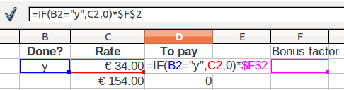 Spreadsheets 24 6.4. Place the insertion point after the last bracket in the input line; 6.5. Enter the multiply sign *; 6.6. Enter $F$2, use the dollar sign on the keyboard: 6.7.