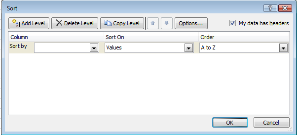 Sort rows by two or three criteria (columns) For best results, the range you sort should have column labels, or headers. Click a cell in the range you want to sort. On the Data tab, click Sort.