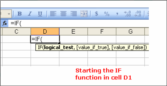 Starting the IF function When you write an IF function in Excel, you always start by typing the equal sign in the cell where you want the answer to appear.