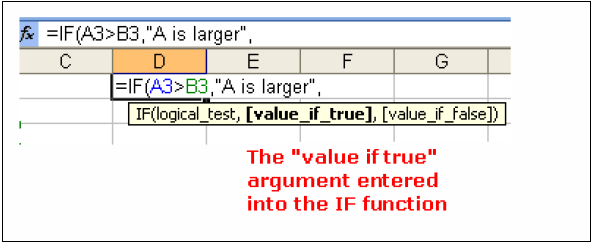 "For our example: type A3 > B3 followed by a comma "","" Adding the ""Value if True"" argument to the IF Function Following our comma separator, we add in the value if true argument of the IF function"