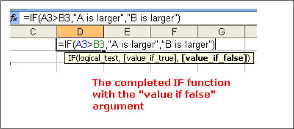 "Adding the ""Value if False"" argument to the IF Function The last section to add to the IF function is the value if false"" argument of the function followed by the right or closing round bracket."