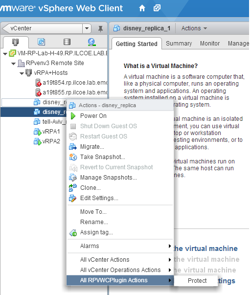 RecoverPoint For VMs Empowers vadmins Use VMware vsphere Web Client To Access The vcenter Plug-in vsphere Web