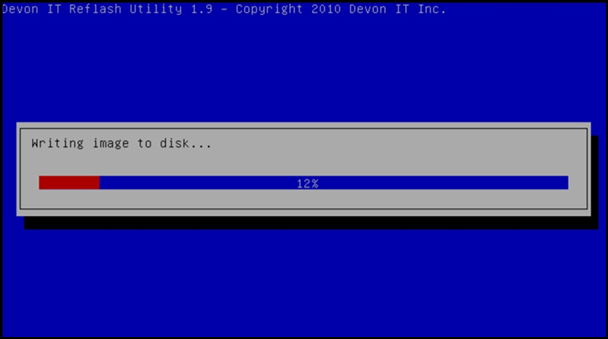 8 The message Writing image to disk is displayed, along with a progress bar showing the current