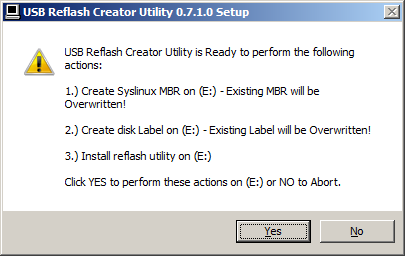 7. A dialog box will appear to confirm the changes you are making. If all the information is correct, click Yes.