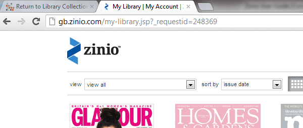 4. How do I navigate from my Zinio.com account back to the library collection page?