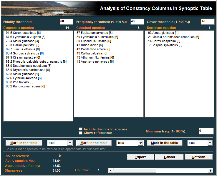 21 Fig. 17: Window for detailed analysis of synoptic tables. From the Synoptic Table menu, select Analysis Of Synopt. Columns. Initially, the three lists will appear blank.