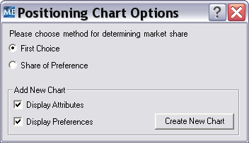 The radio buttons (circles) allow you to select the choice rule to use for the market share computations.
